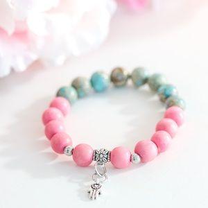 Jewelry - Hot pink and Sea Sediment charm bracelet